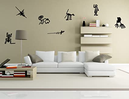 Nazca lines wall decal sticker set of 7 peru inca decoration mural black