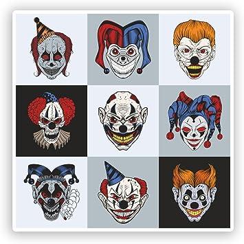 2 x Scary Clowns Vinyl Stickers Halloween Scary Horror #7414