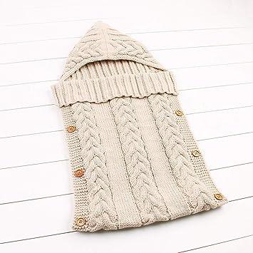 Amazon.com: E-HOO Unisex Newborn Baby Wrap Swaddle Blanket Knitting Toddler Blanket Colorful Sleeping Bag for 0-1 Year Baby(Beige): Baby