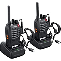 $25 » eSynic Rechargeable Walkie Talkies with Earpieces 2pcs Long Range Two-Way Radios 16 Channel…