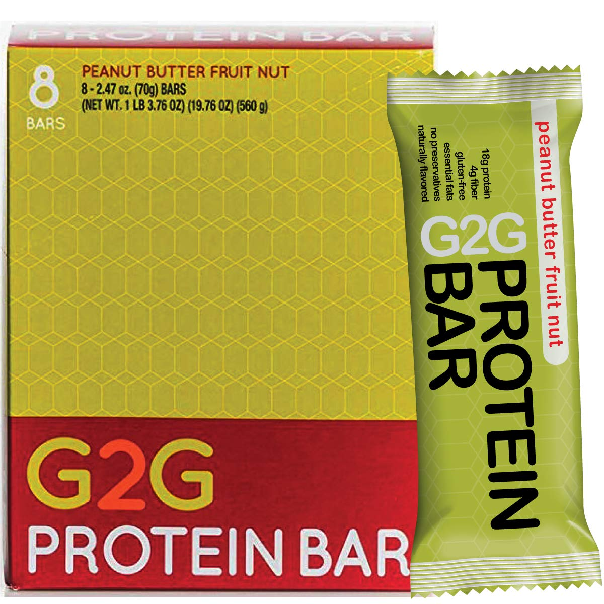 G2G Protein Bar, Peanut Butter Fruit Nut Protein Bar, 8 Count Box