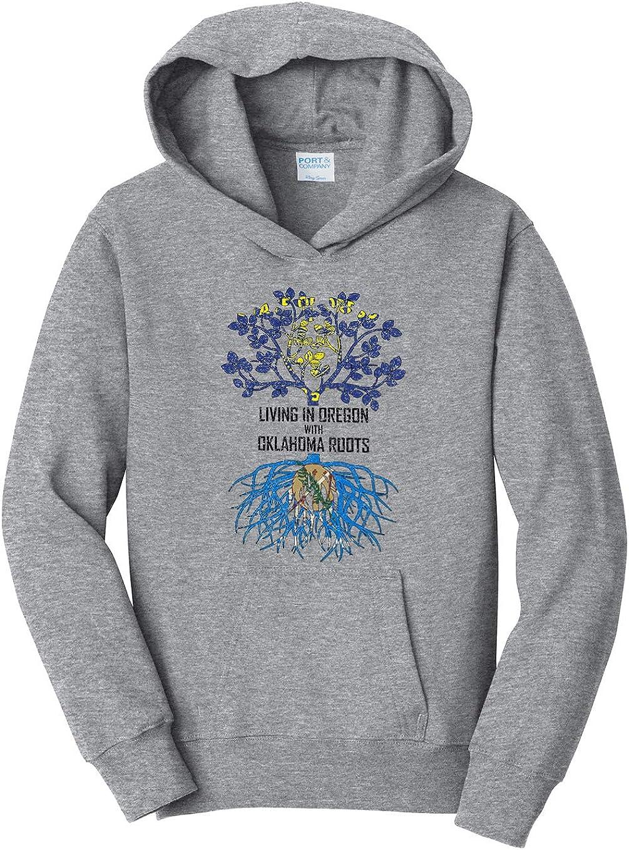 Tenacitee Girls Living in Oregon with Oklahoma Roots Hooded Sweatshirt