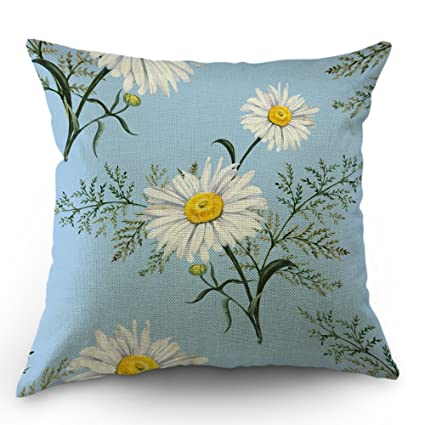 5cd005cb6bb Moslion Daisy Pillows Flower Decorative Throw Pillow Cover Daisy Floral  Leaves Garden Pillow Case 18 X