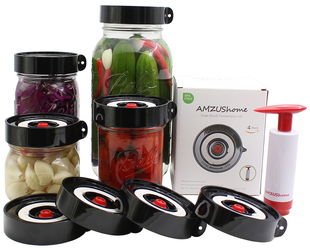 AMZUShome Fermenting Lids Kit Waterless Airlock For Wide Mouth Mason Jar Fermentation Not Crock Pots,Make Sauerkraut, Kimchi, Pickles Or Fermented Probiotic Foods. 4 Pack+1 Pump+1 Sponge Brush (Black) Both Day and Month tracker