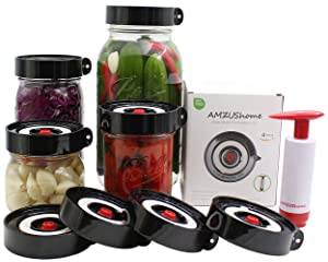 AMZUShome Fermenting Lids Kit Waterless Airlock For Wide Mouth Mason Jar Fermentation Not Crock Pots,Make Sauerkraut, Kimchi, Pickles Or Fermented Probiotic Foods. 4 Pack+1 Pump+1 Sponge Brush (Black)