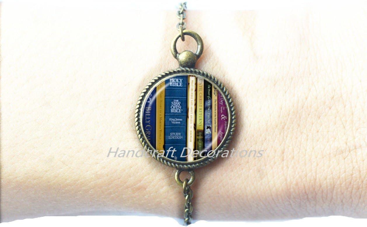 books gift writer teacher gift,Book Lover Bracelet.F241 Library Bracelet,Librarian Jewelry for Bookworms Art Bracelet Book print glass Bracelet,Library Books