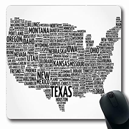 Amazoncom Ahawoso Mousepads For Computers American City Usa Map