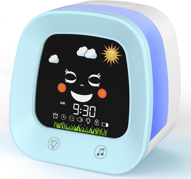 USAOSHOP Alarm Clock for Kids, Kids Alarm Clock with Night Light, Nap Timer, Sound Machine,Children Sleep Trainer for Toddlers, Digital Wake up Light for Kids Boys Girls Teens Bedroom Decoration