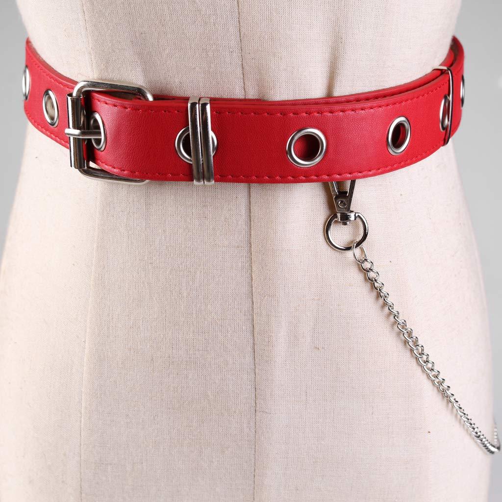 Baoblaze Cintura Vita Pelle Con Catena Metallo Accessorio Donna Per Pantaloni Jeans
