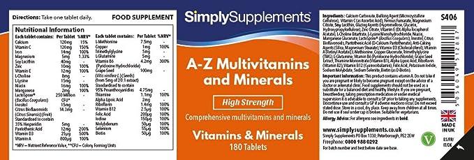 AZ Multivitaminas y minerales – Con 31 nutrientes principales – Apto para vegetarianos - ¡Bote para 1 año!– 360 comprimidos