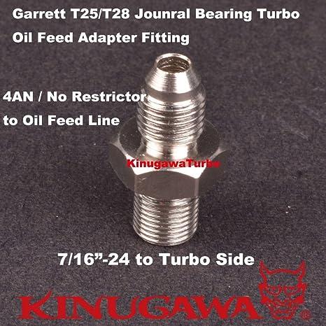 Garrett T25 T28 diario rodamientos Turbo aceite alimentación 4 un adaptador (no Restrictor