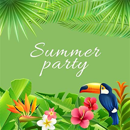 Csfoto 6x6ft Background For Summer Party Tropical Parrot Green Photography Backdrop Nature Scene Blooming Flower Green Leaves Palm Leaf Child Adult