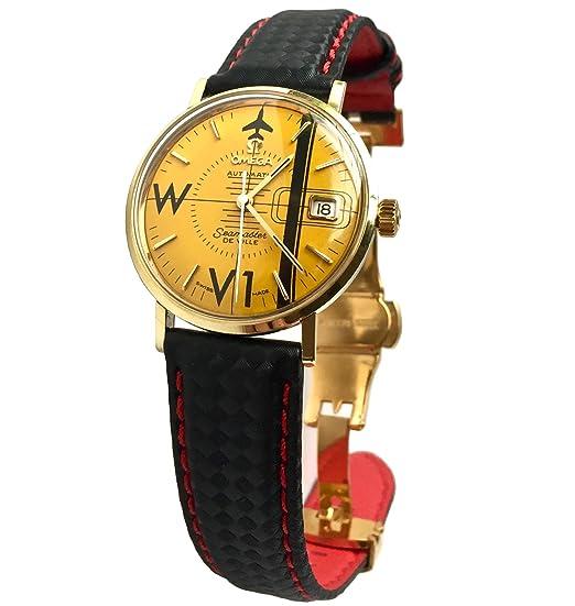 1961 Omega Seamster de Ville - Reloj de pulsera (esfera amarilla, correa de piel
