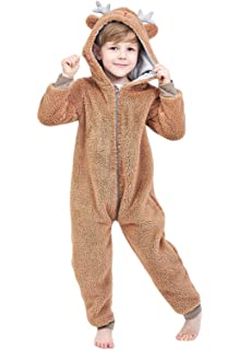17d399d0566f26 Anna King Kids Animal One-Piece Pajamas Costume Hooded Cosplay Onesies  Plush Sleepwear for Girls