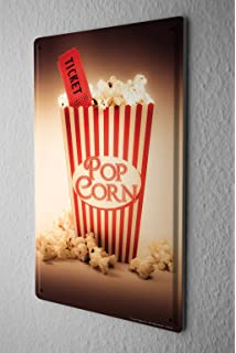Tin Sign Jorgensen Photography Photo Images Popcorn Cinema Ticket Movie  Ticket Movie 20x30 Cm Large Metal