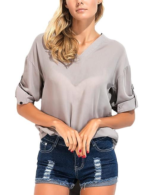 Auxo Mujer Blusas Elegante Camisa Vestido Manga Larga T Shirt V Cuello Tops Verano OL Gris