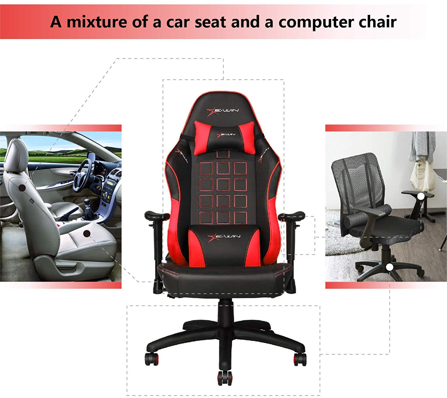 E-WIN Gaming 400 lb Big and Tall Office Chair Ergonomic Racing Style Design with Wide Seat High Back Adjustable Armrest Black Red