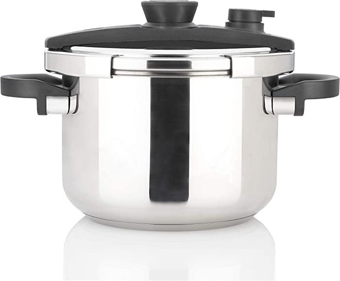 Zavor EZLock 6 Quart Dual-Setting Pressure Cooker with Universal Locking Mechanism and Accessories - Polished Stainless Steel (ZCWEZ02)