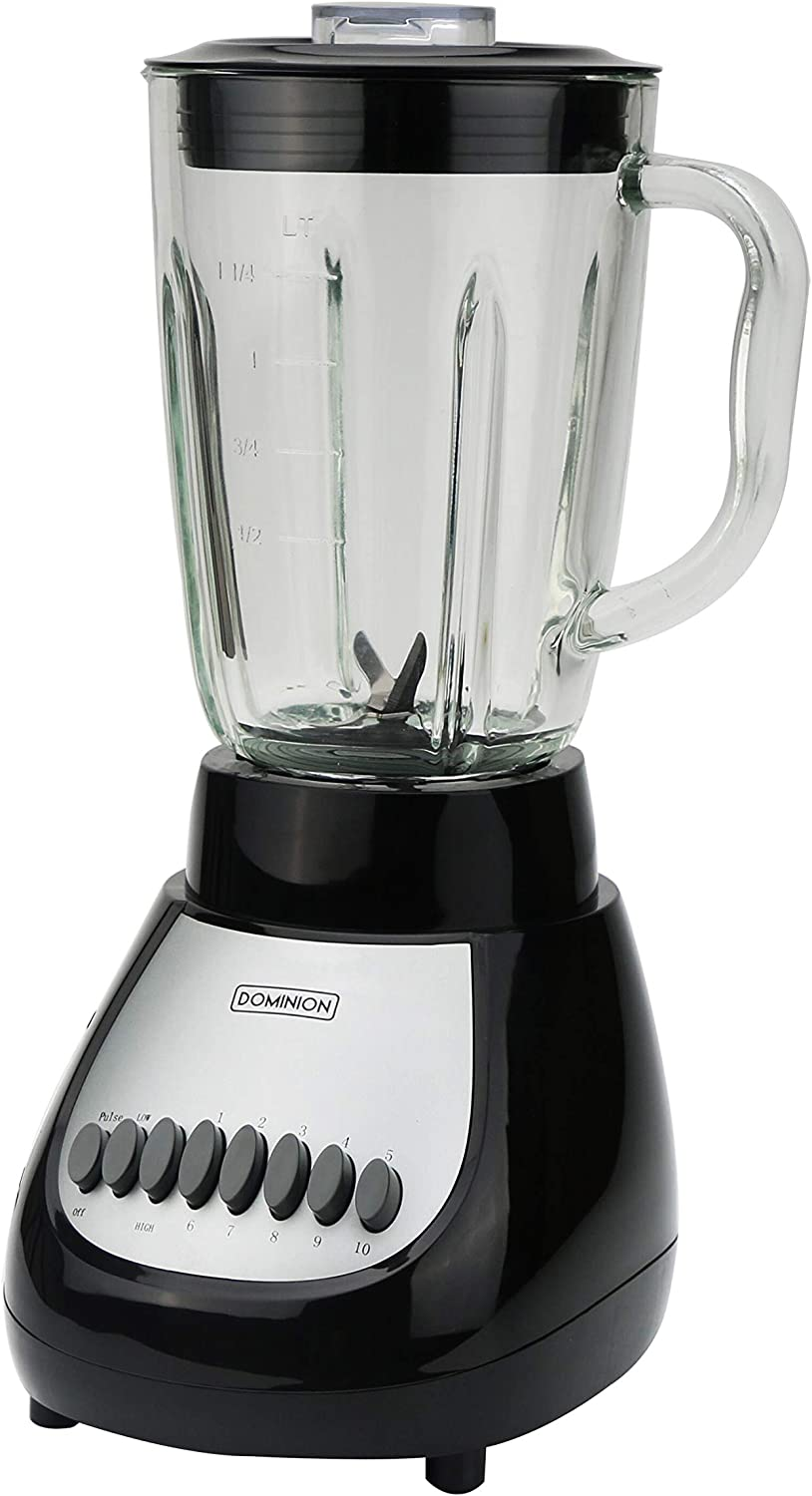 Dominion D4002BG Countertop Blender with 5-Cup Glass Jar (42oz), 10-Speed Settings with Pulse Function, Sharp Stainless Steel Blade, Black