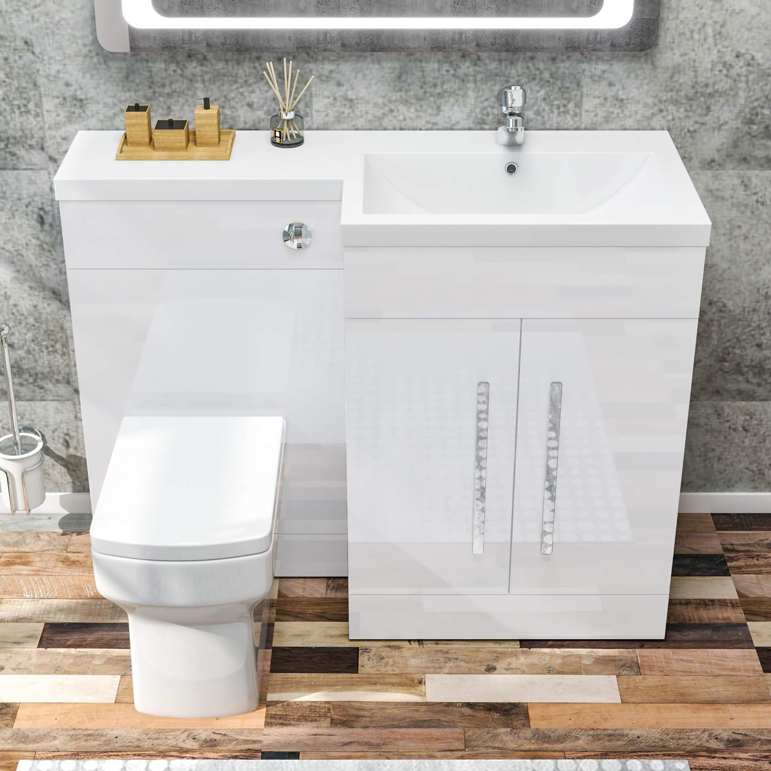 Elegant 1100mm L Shape Bathroom Vanity Sink Unit Furniture Storage Right Hand High Gloss White Vanity Unit Basin Ceramic Square Toilet With Concealed Cistern Buy Online In Antigua And Barbuda At