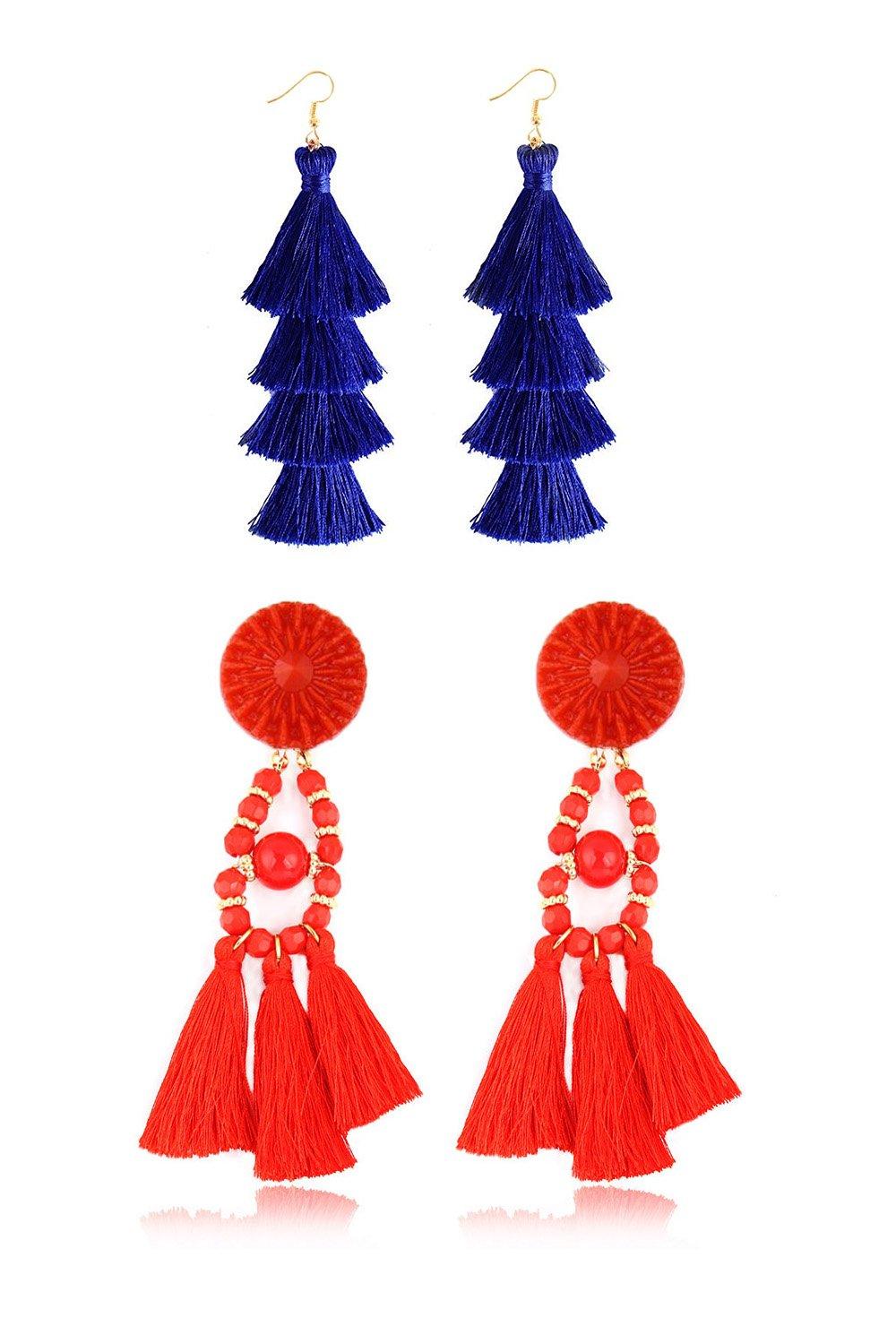 Fashion Tassel Earrings Handmade Bohemian Statement Chandelier Red Tassel Earrings Stud with Roud bead and Tiered Thread Royal Blue Tassel Drop Dangle Earring 2 Pairs