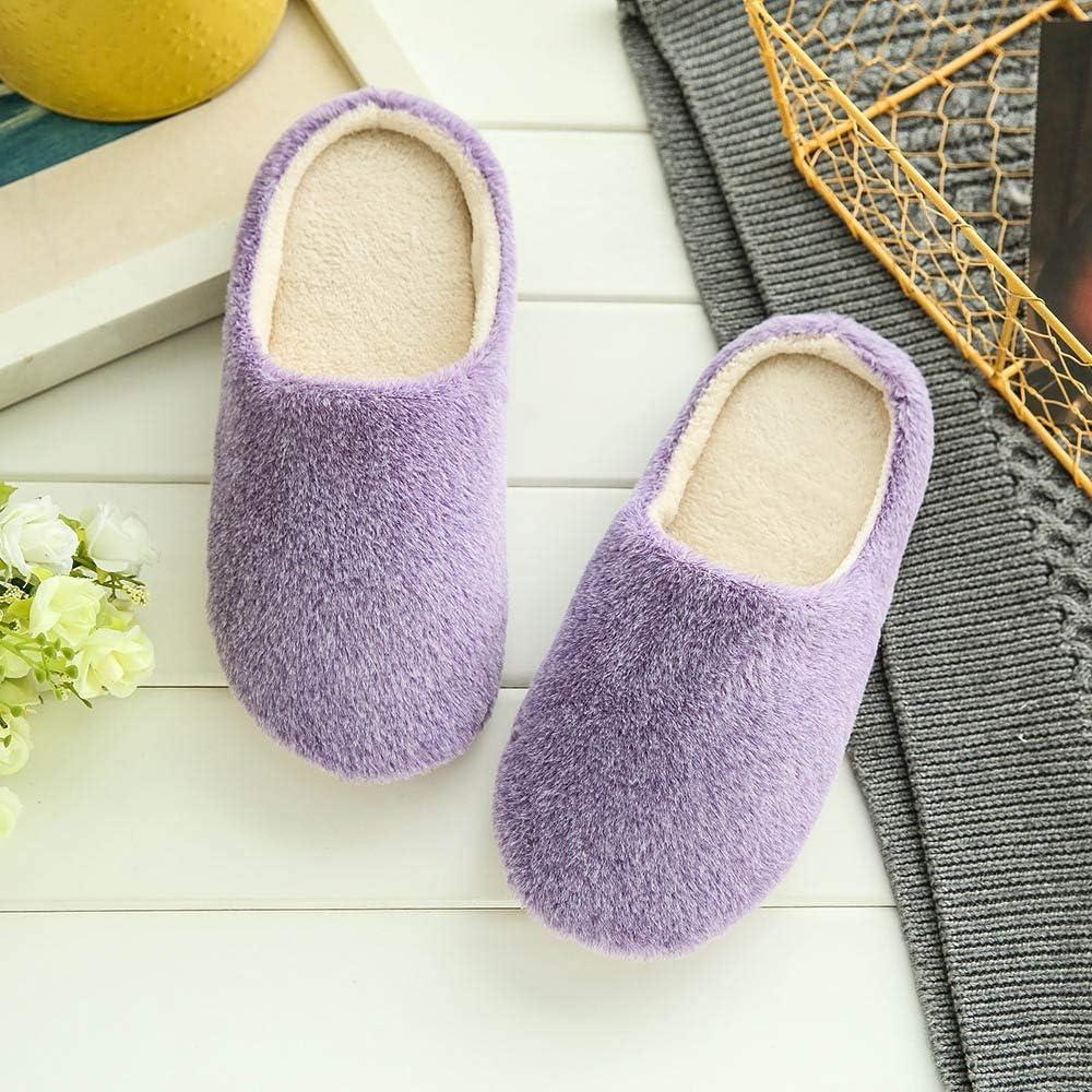 Goldweather Women Soft Home Slippers Winter Warm Plush Indoors Bedroom Floor Anti-Slip Cotton Shoes