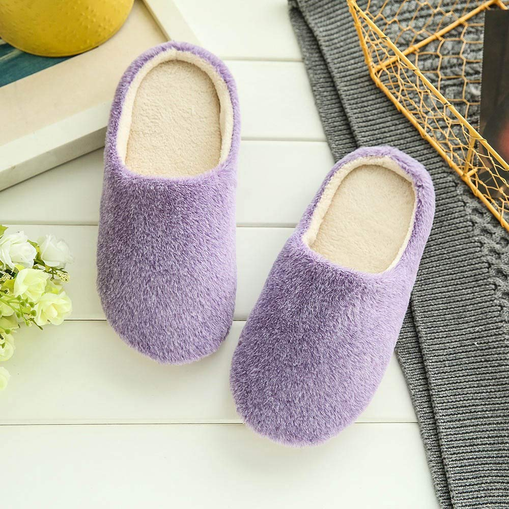 Goldweather Women Soft Home Slippers Winter Warm Plush Indoors Bedroom Floor Anti-Slip Cotton Shoes