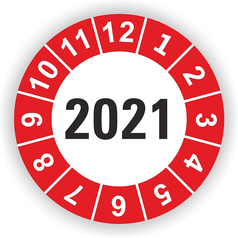 Blau 120 St/ück 5-1.000 St/ück Pr/üfplaketten Pr/üfetiketten Wartungsetiketten Jahresplakette 2021 /Ø 20mm