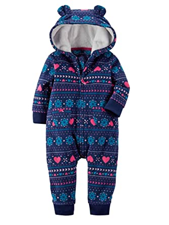 Carters Infant Girls Blue FairIsle Hooded Fleece Jumpsuit Coverall Outfit e63a48255