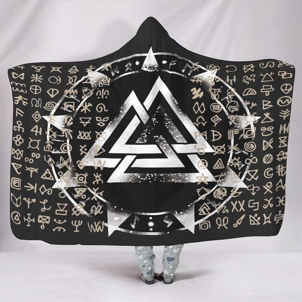 WEIFLY Viking 3D Printed Hooded Blanket Novelty Cozy Blanket Coral Fleece Blanket Mens Women White 50x60 inch