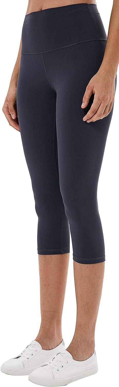 ARCEED Womens High Waist Yoga Capri Leggings Workout Pants with Pockets