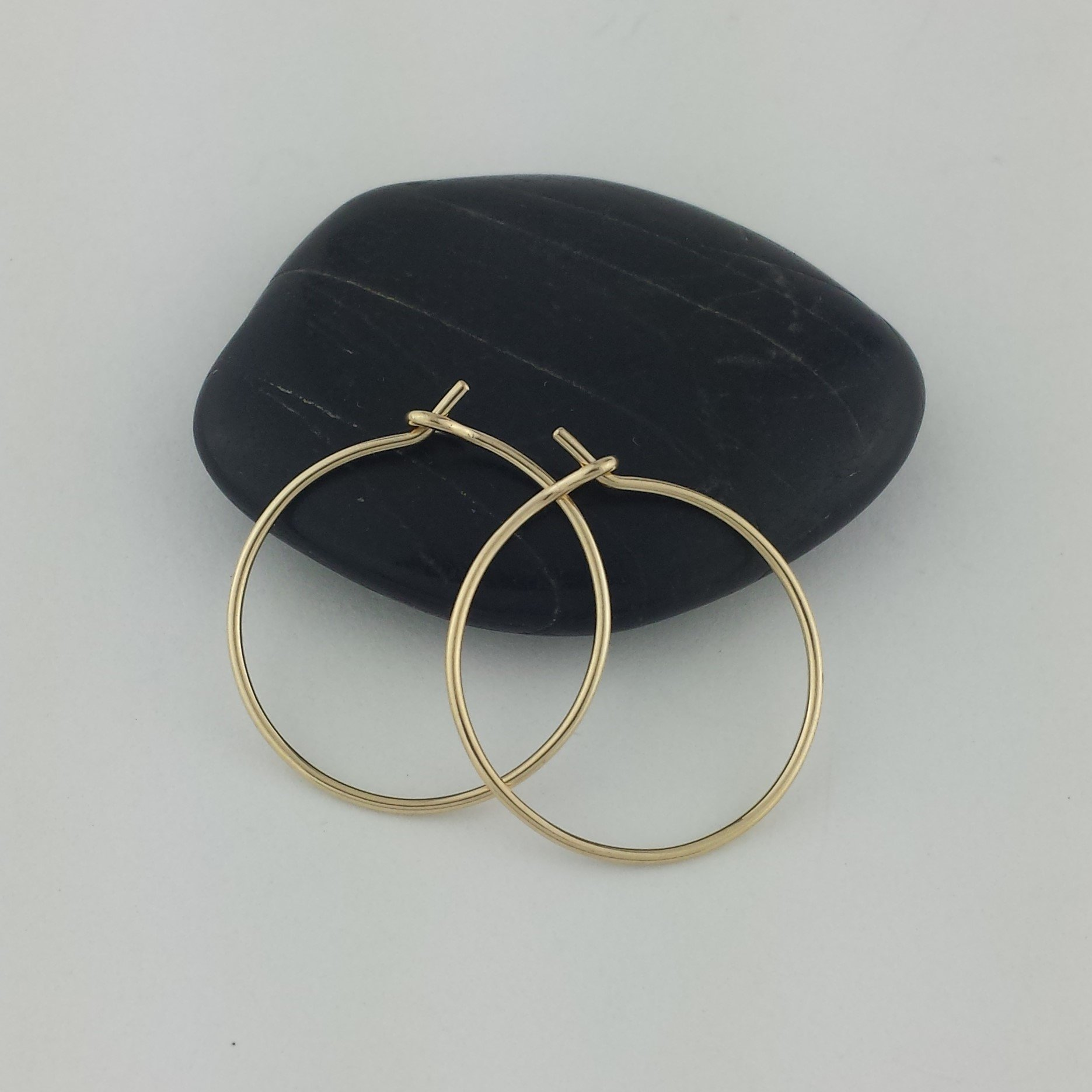 3/4'' Solid 14k Gold Hoop Earrings, 20g (.8mm) wire