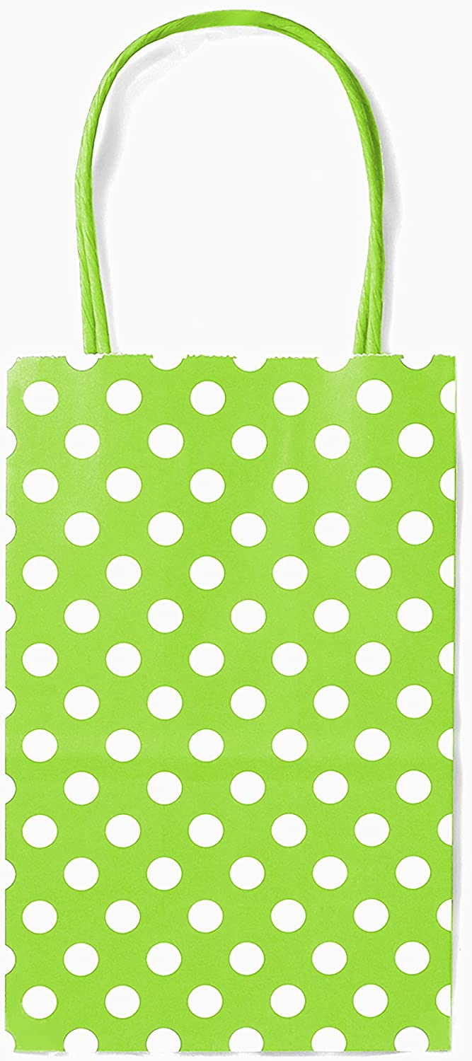 12CT Small Lime Green Polka DOT Biodegradable, Food Safe Ink & Paper, Premium Quality Paper (Sturdy & Thicker), Kraft Bag with Colored Sturdy Handle (Small, P.Lime Green)