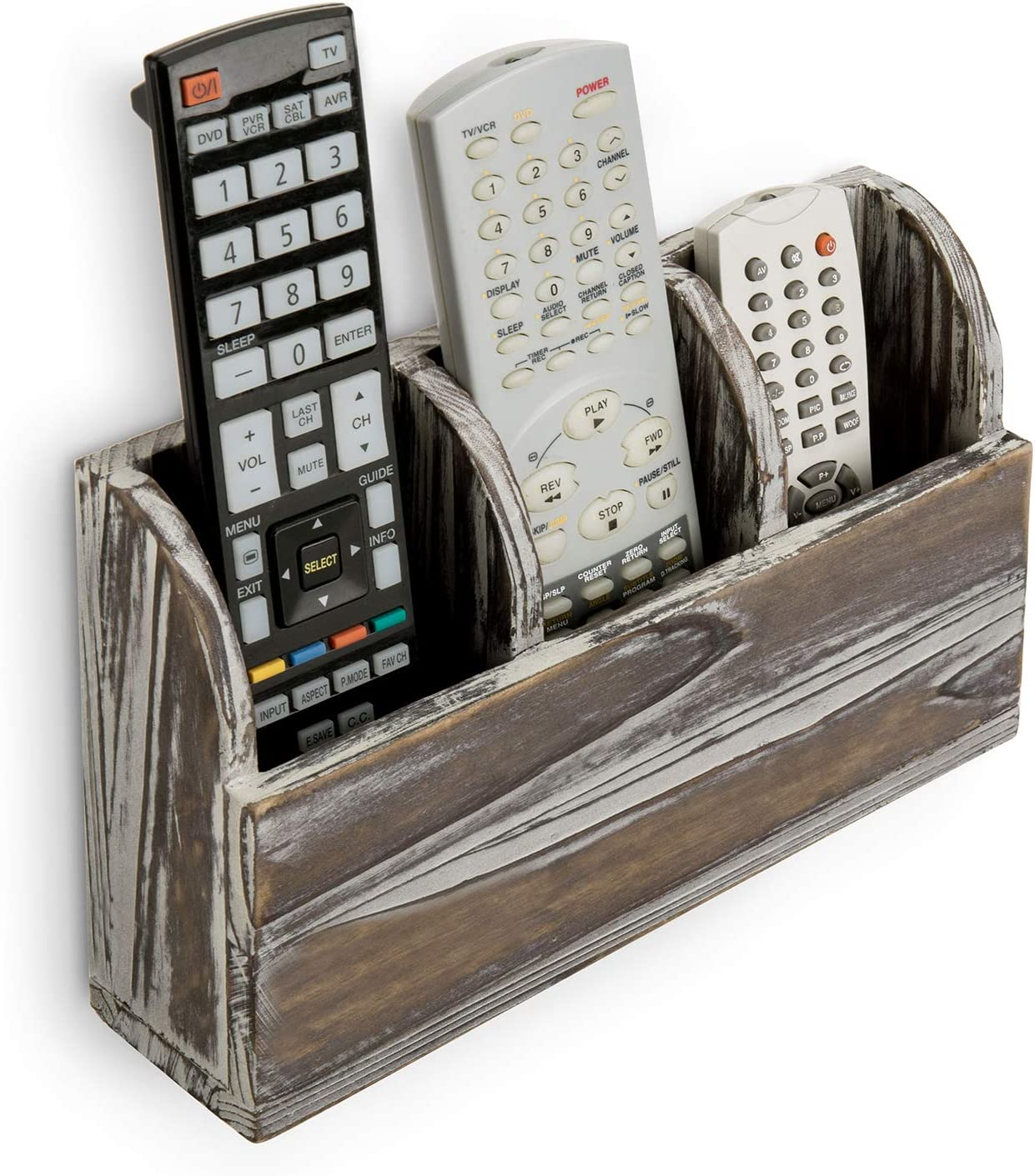 MyGift 3-Compartment Torched Solid Wood Wall Mounted Remote Control Holder/Media Organizer