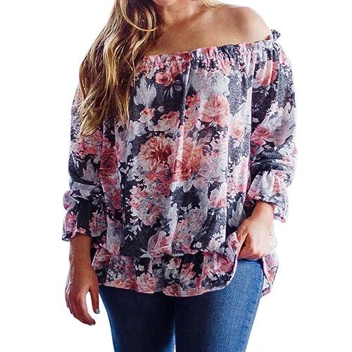 Blusas de Mujeres SHOBDW Impreso Floral Camisetas Rope tallas grandes de Camisas la atractiva de sue...