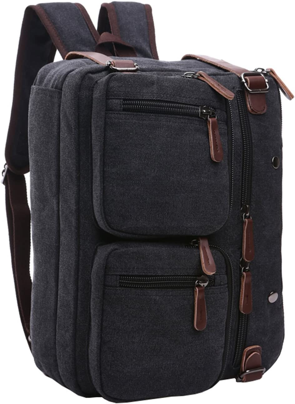 3-Way Convertible Briefcase Laptop Backpack Messenger Bag Backpack for Man Women (BLACK)