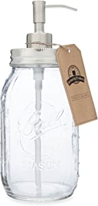 Jarmazing Products Quart Size Mason Jar Soap and Lotion Dispenser Made from Rust-Proof Stainless Steel