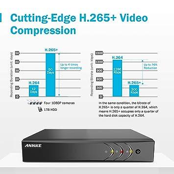 ANNKE Kit de Seguridad 3MP H.265+ DVR 8+2 Canal y 8 Cámaras CCTV de Luz Estelar videovigilancia para hogar y Negocio (8CH 5-en-1 DVR Onvif cámara 2MP ...