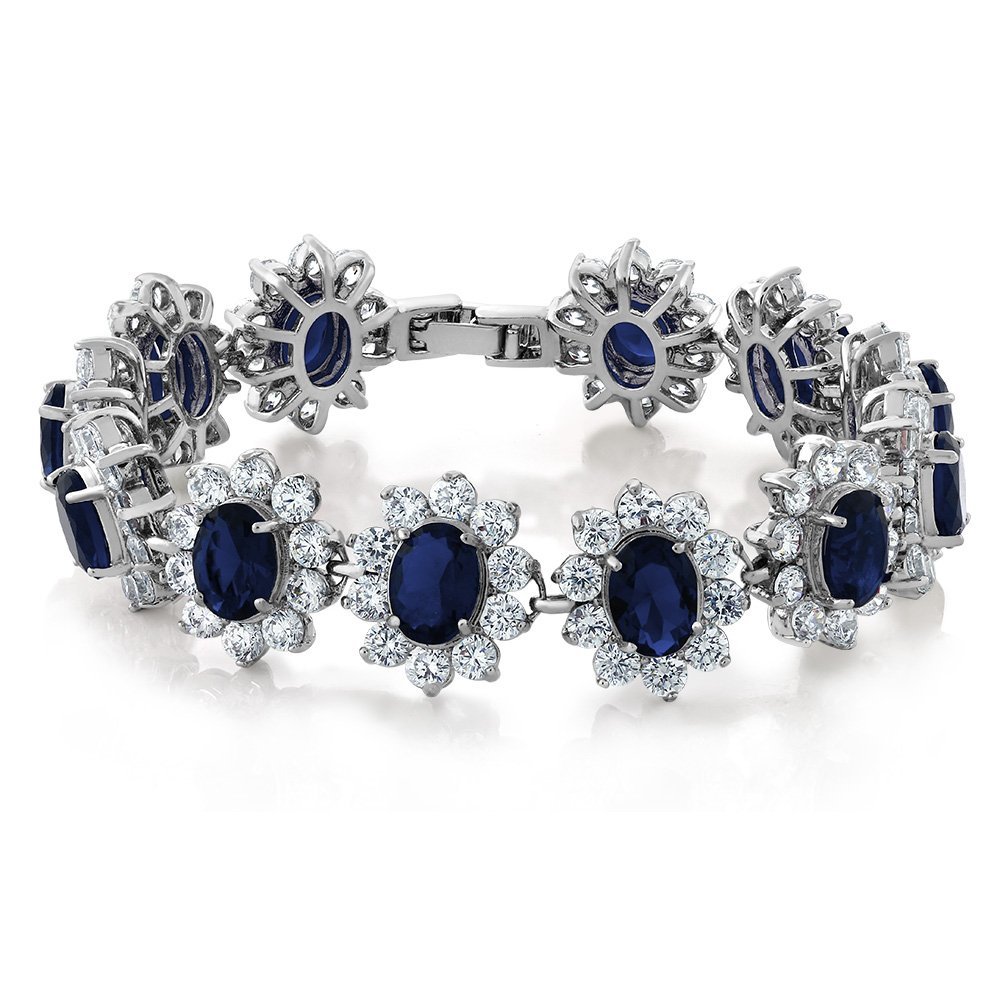 Gem Stone King 27.00 Carat Oval and Round Royal Blue Sapphire CZ Tennis Bracelet 7 Inch with Security Clasp by Gem Stone King