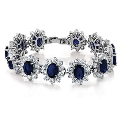 03b477009e Amazon.com  Gem Stone King 27.00 Carat Oval and Round Royal Blue Sapphire  CZ Tennis Bracelet 7 Inch with Security Clasp  Jewelry