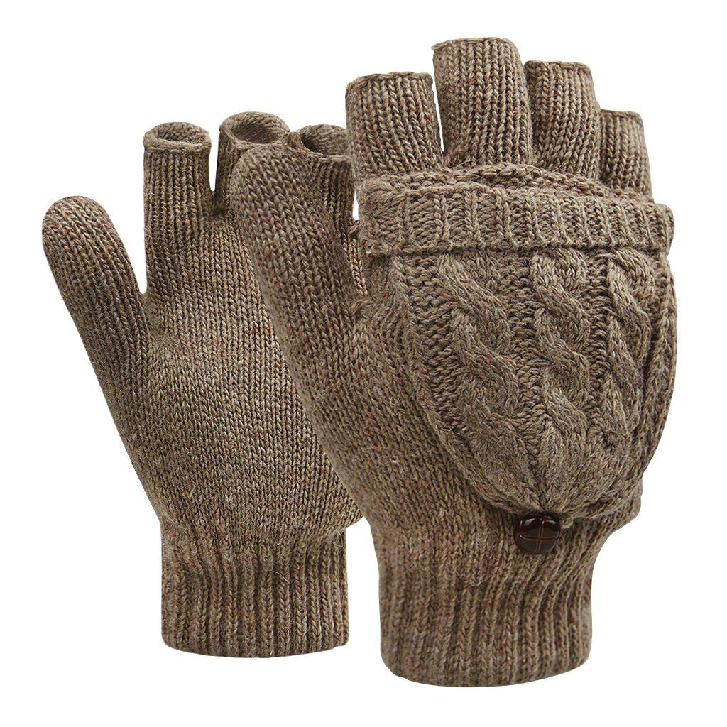 Winter Handschuhe Fingerlose F/äustlinge Damen M/ädchen Doppelfunktione Winterhandschuhe Fingerhandschuhe Strickhandschuhe mit Flip Top