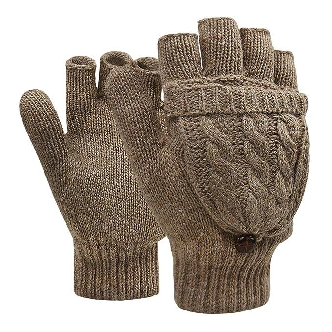 70b5a6a469f550 Winter Handschuhe Fingerlose Fäustlinge Damen Mädchen Doppelfunktione  Winterhandschuhe Fingerhandschuhe Strickhandschuhe mit Flip Top, Braun,