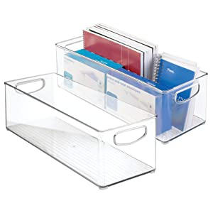 "mDesign Large Stackable Plastic Storage Bin Container, Home Office Desk and Drawer Organizer Tote with Handles - Holds Gel Pens, Erasers, Tape, Pens, Pencils, Markers - 16"" Long, 2 Pack - Clear"