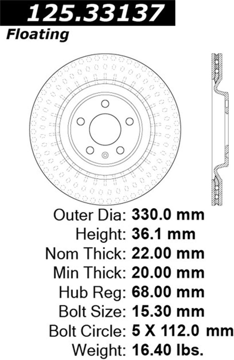 Centric 125.33137 Disc Brake Rotor