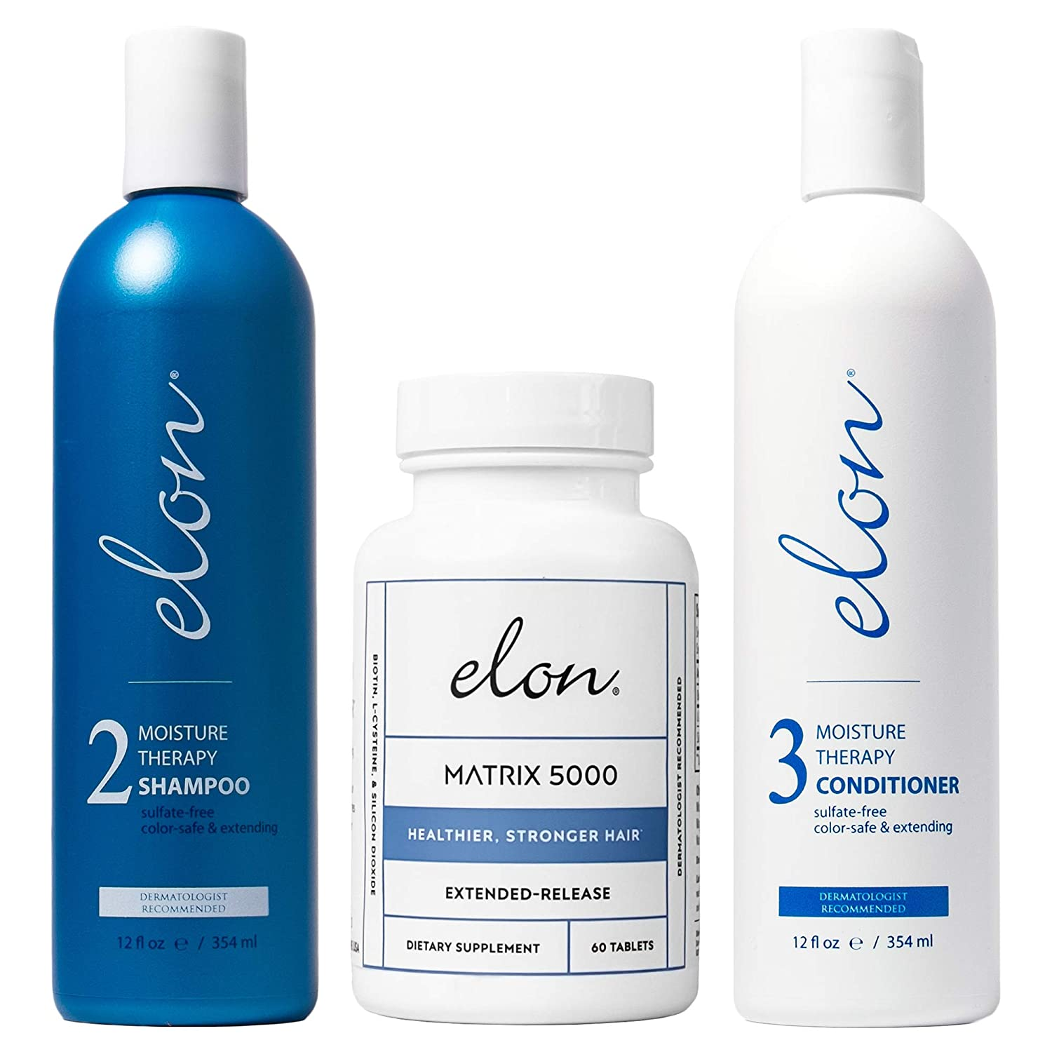 Elon Thinning Hair System - Maintenance | Dermatologist Recommended | Elon Moisture Therapy Shampoo, Elon Moisture Therapy Conditioner, Elon Matrix 5000 Hair Vitamins (60 tablets): Beauty