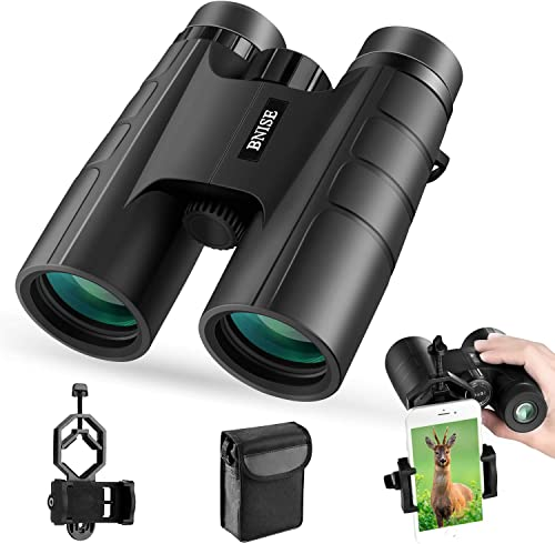 BNISE Binoculars for Adults Compact, 10X42 HD Professional, BAK4 Prism FMC Lens, Suitable for Outdoor Travel, for Bird Watching, for Hunting, with Smartphone Adapter, Neck Strap, Portable Backpack