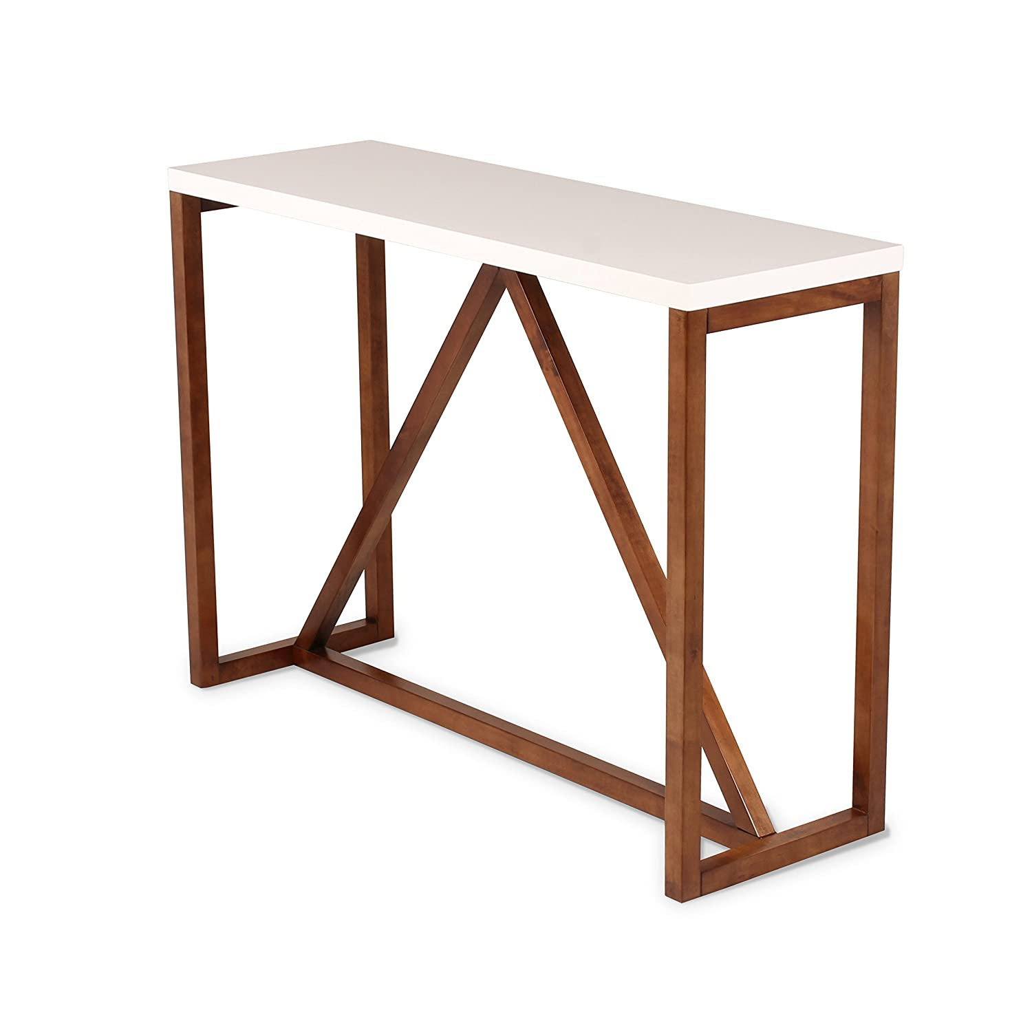 Kate and Laurel Kaya Two Console Table, 42 x 14 x 30 , White Walnut Brown