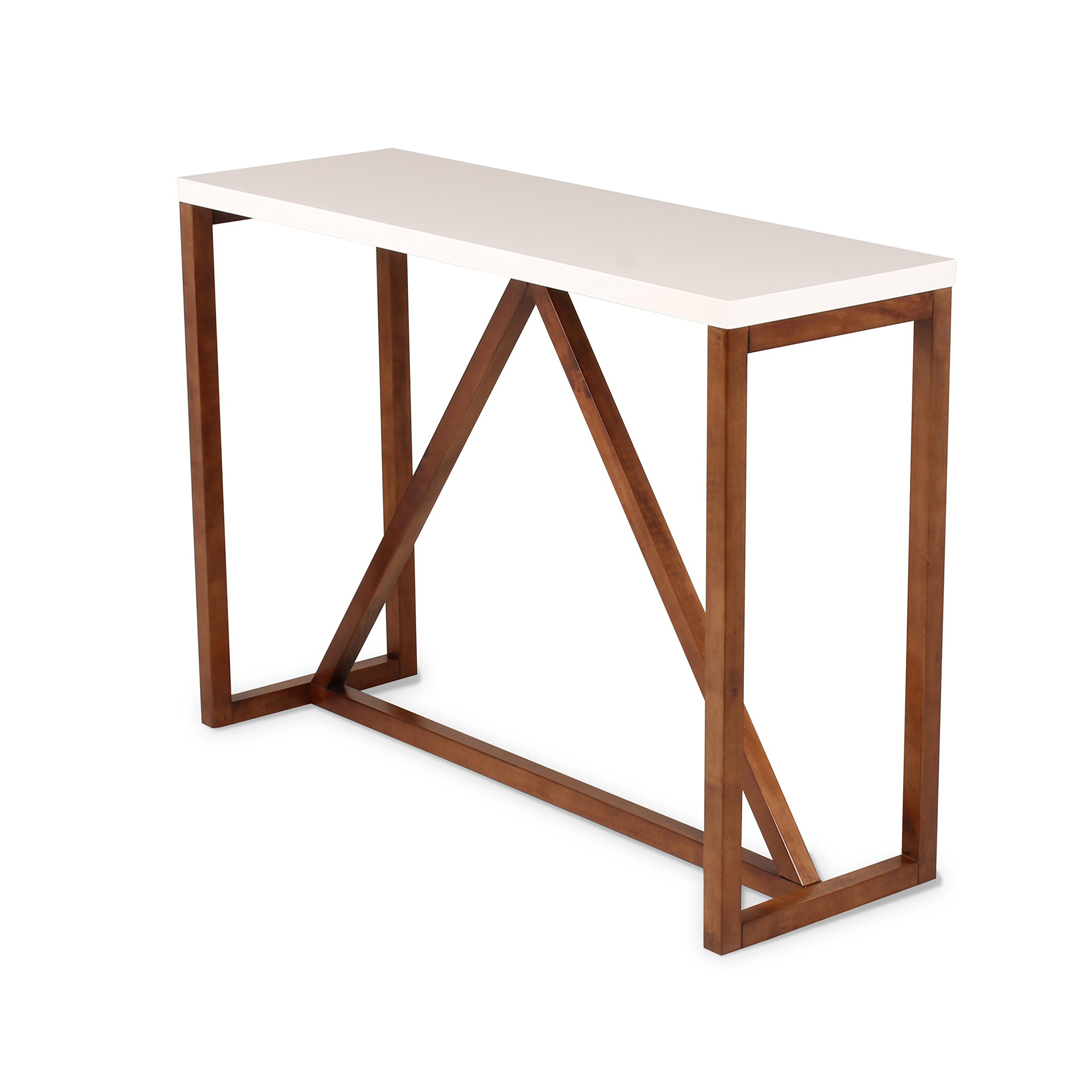Kate and Laurel Kaya Two Console Table, 42'' x 14'' x 30'', White/Walnut Brown by Kate and Laurel