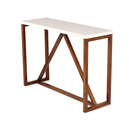 Kate And Laurel Kaya Two Toned Wood Console Table With White Top And Walnut  Brown