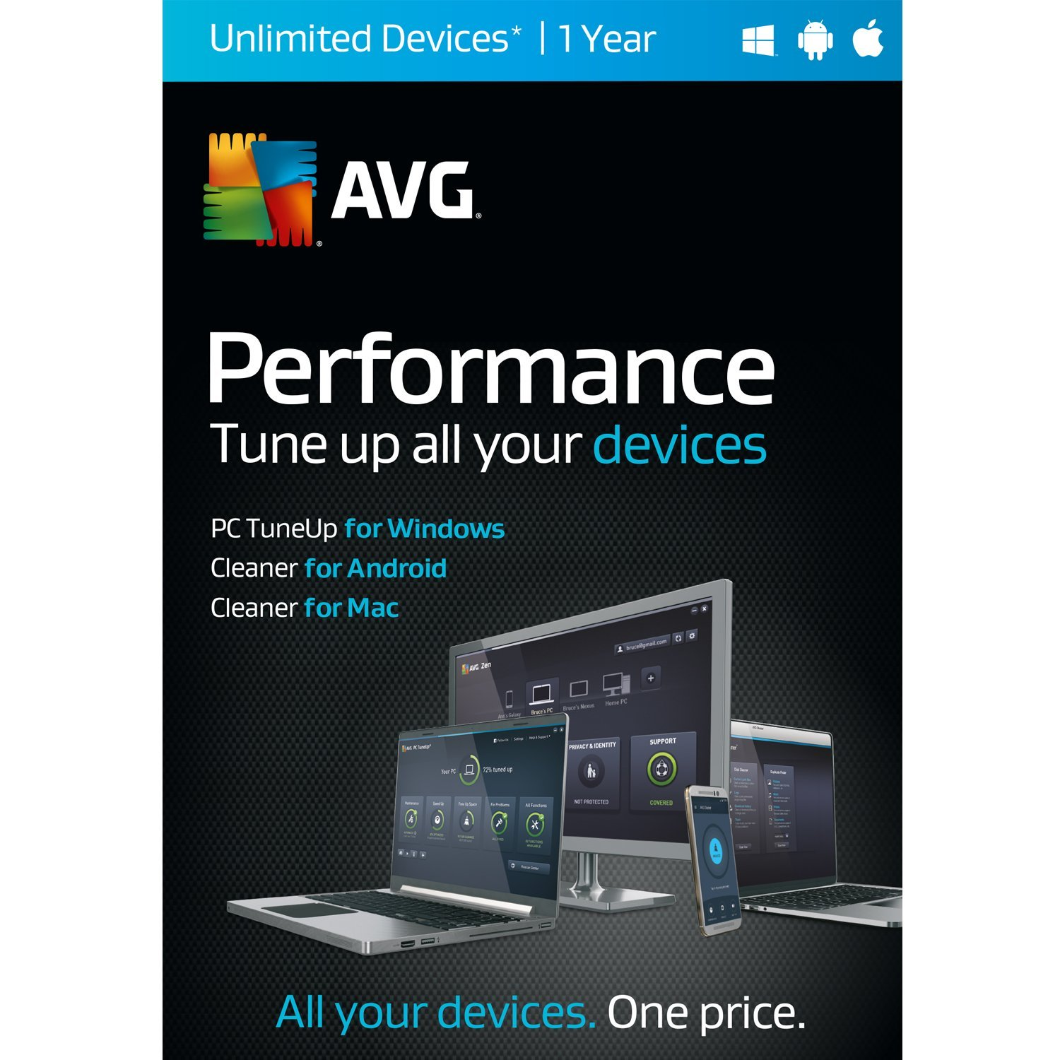AVG Performance,  UNLIMITED devices  1 Year [Download]
